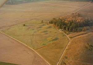 Cliff Hoppitt's aerial photograph of Sutton Hoo, taken early one morning in May 1983.