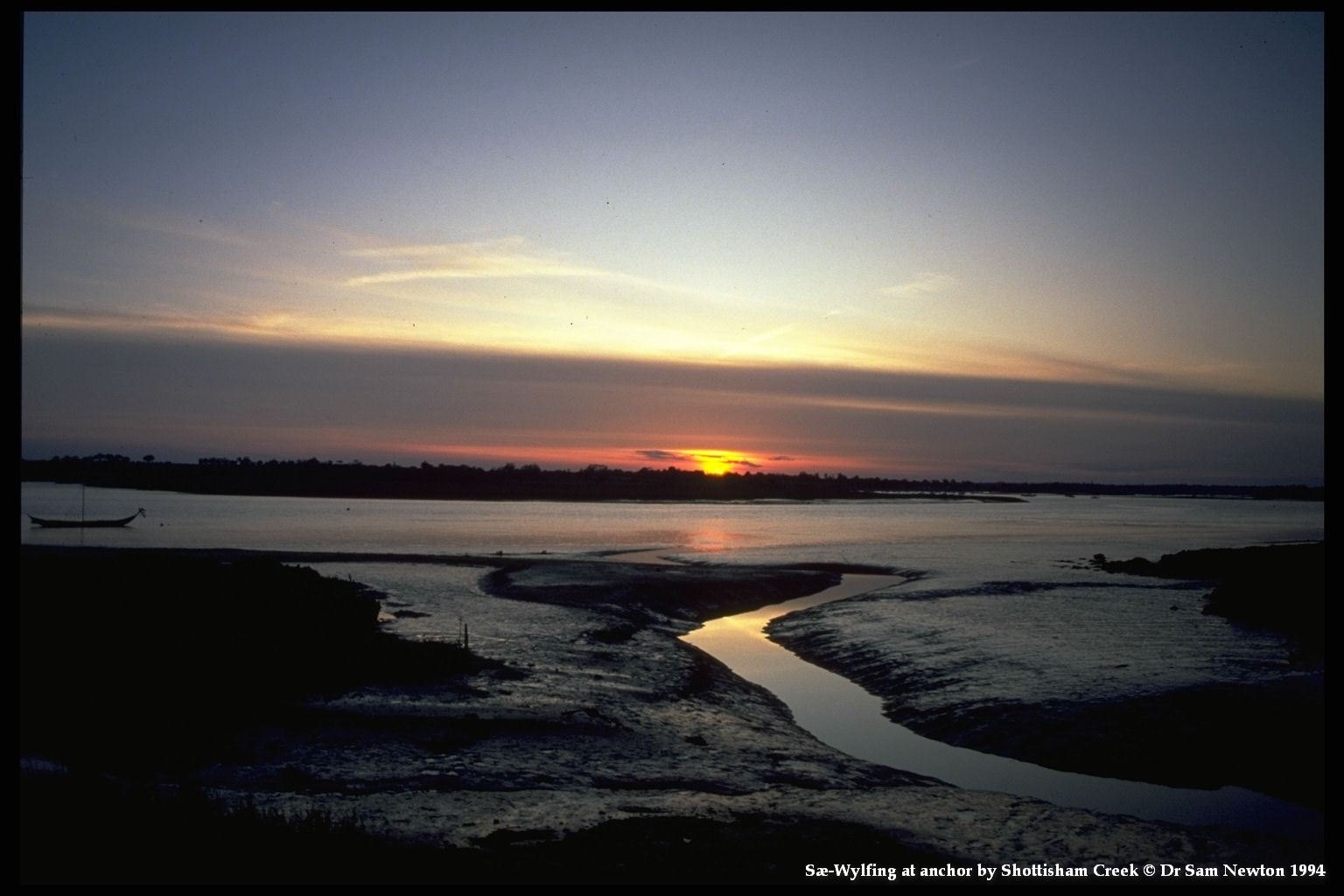 Sæ Wylfing at sunset by Shottisham Creek © Dr Sam Newton 1994