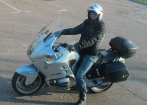 Sam on Beemer in Gothenberg Autumn 2011